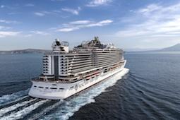 Die MSC Seaview mit von der Skyline und den Strandbauten Miamis inspirierter Architektur. Foto: MSC Cruises